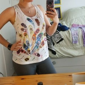 Colorful feather patterned sequin tank top